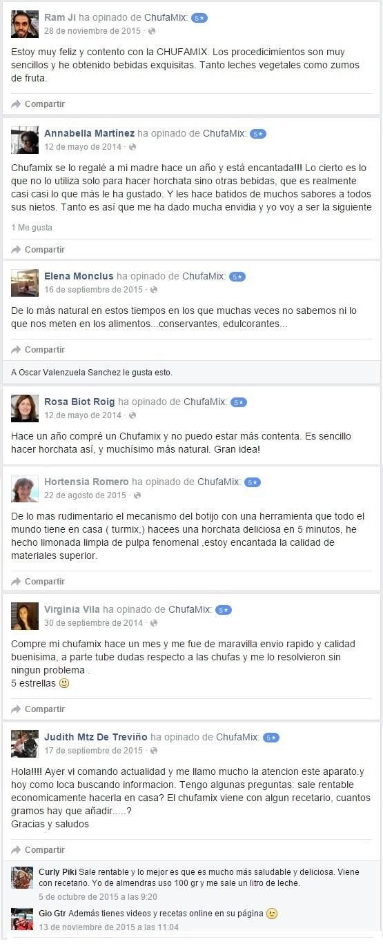 comentarios positivos chufamix facebook