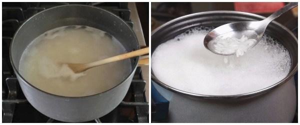 cocer el arroz en una olla hasta que esté blando