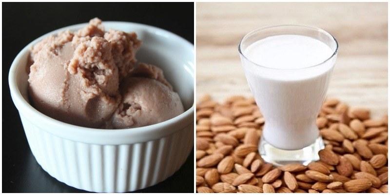 helado vegano de leche de almendras